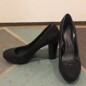 Victor Alfaro Black Suede Block Heel Pumps